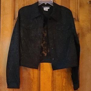 🌞3/$15🌞 Dressy, sheer, lacy black cropped jacket